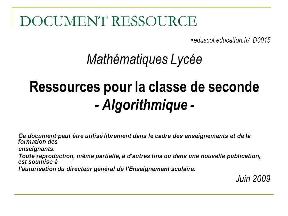 Ressources pour la classe de seconde