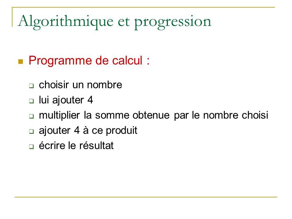 Algorithmique et progression