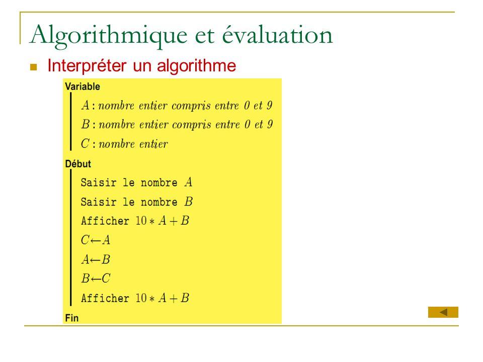 Algorithmique et évaluation