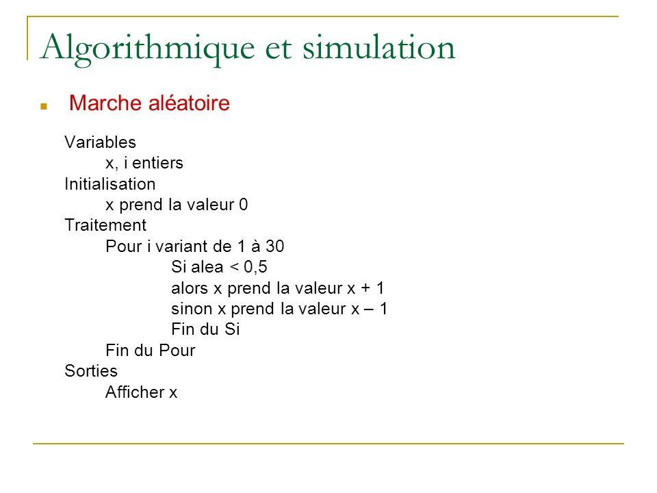 Algorithmique et simulation