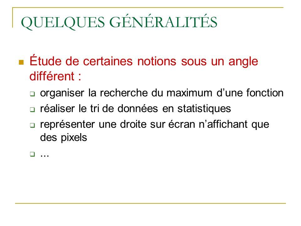 QUELQUES GÉNÉRALITÉS Étude de certaines notions sous un angle différent : organiser la recherche du maximum d'une fonction.
