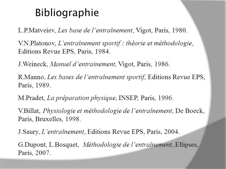 Bibliographie L.P.Matveiev, Les base de l'entraînement, Vigot, Paris, 1980.