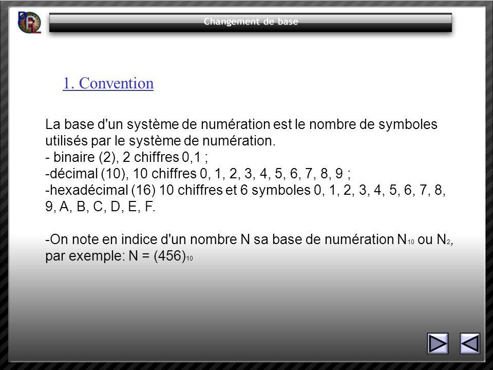 1. Convention La base d un système de numération est le nombre de symboles utilisés par le système de numération.