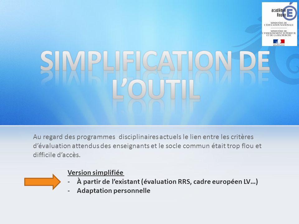 SIMPLIFICATION DE L'OUTIL