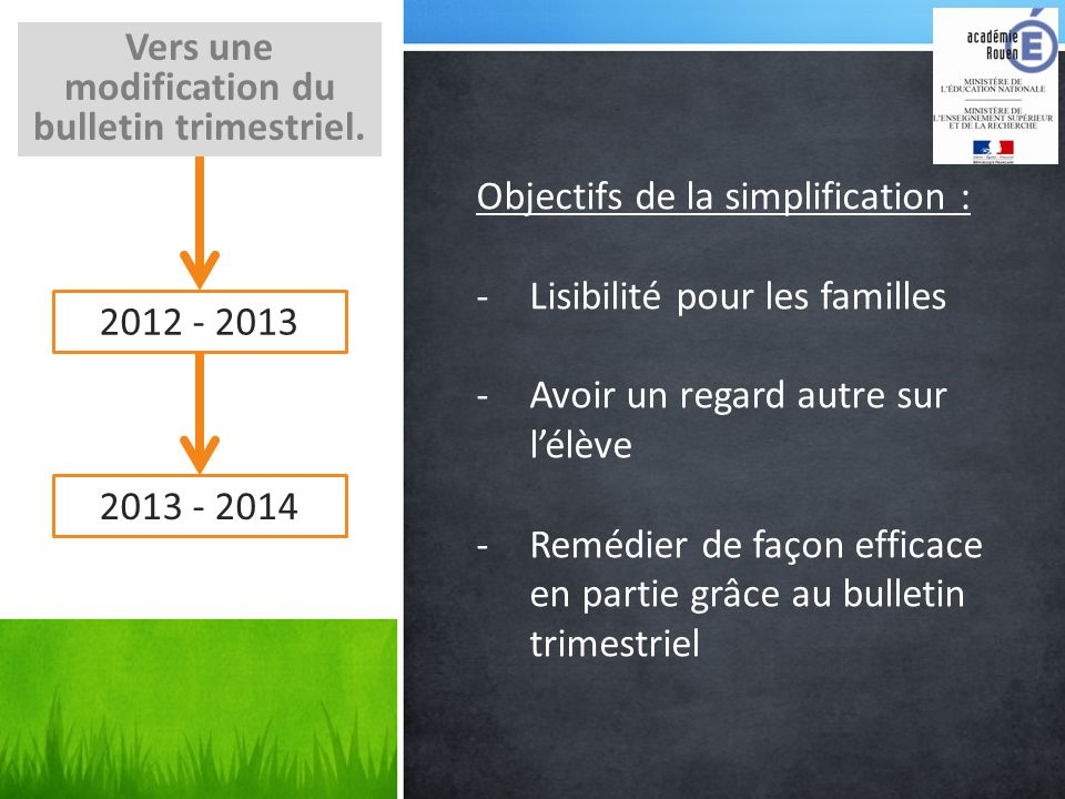 Vers une modification du bulletin trimestriel.
