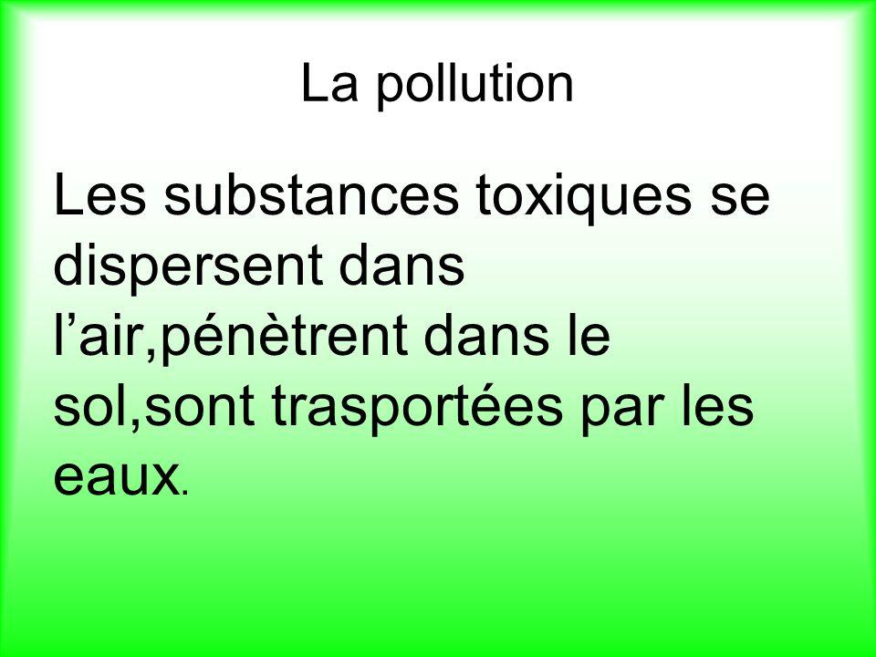 La pollution Les substances toxiques se dispersent dans l'air,pénètrent dans le sol,sont trasportées par les eaux.