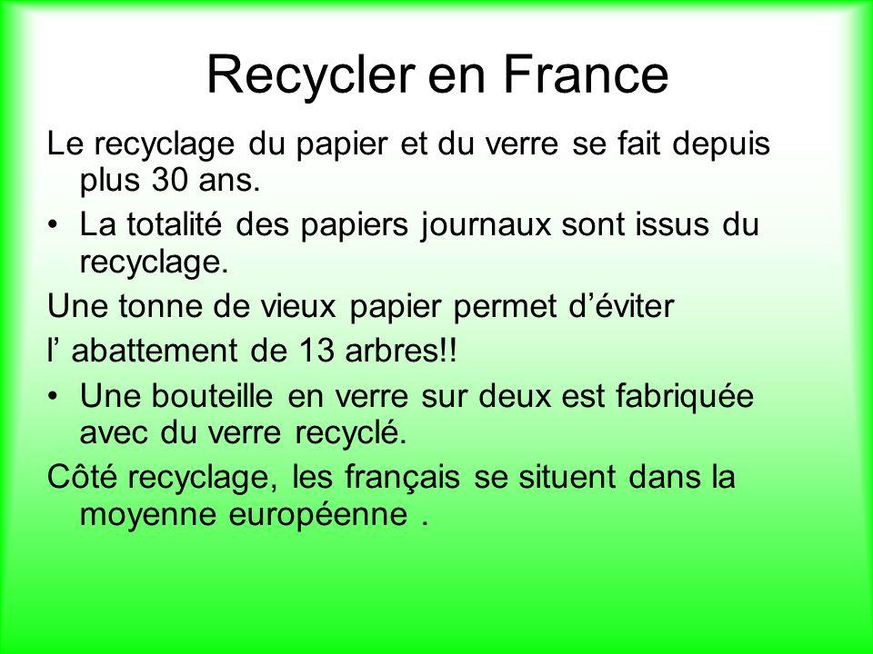Recycler en France Le recyclage du papier et du verre se fait depuis plus 30 ans. La totalité des papiers journaux sont issus du recyclage.