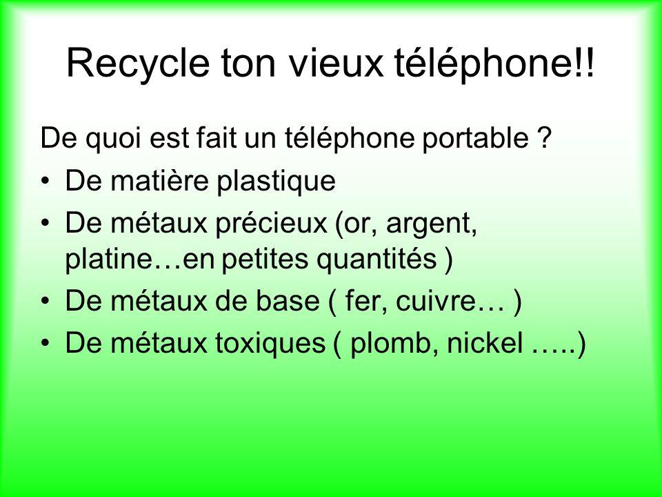 Recycle ton vieux téléphone!!