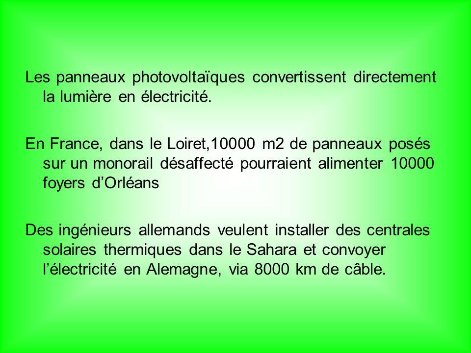 Les panneaux photovoltaïques convertissent directement la lumière en électricité.