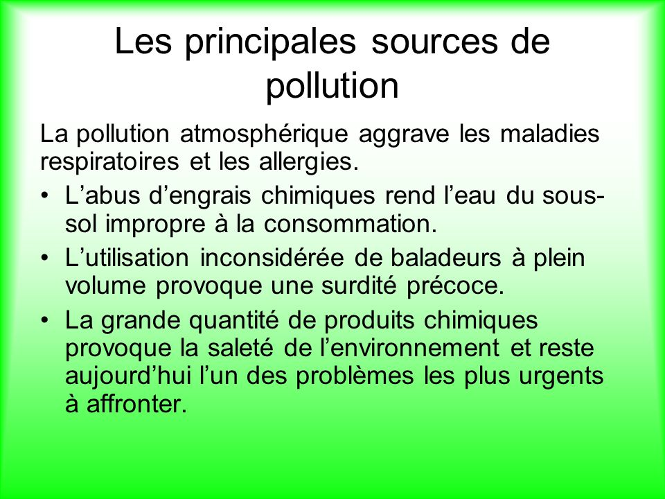 Les principales sources de pollution