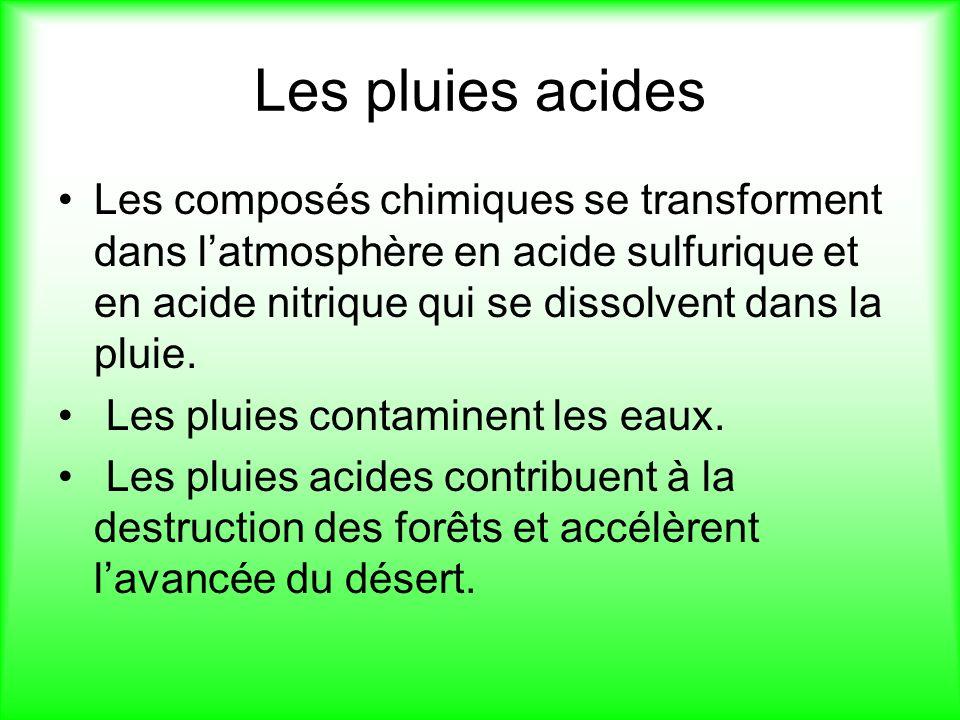 Les pluies acides Les composés chimiques se transforment dans l'atmosphère en acide sulfurique et en acide nitrique qui se dissolvent dans la pluie.