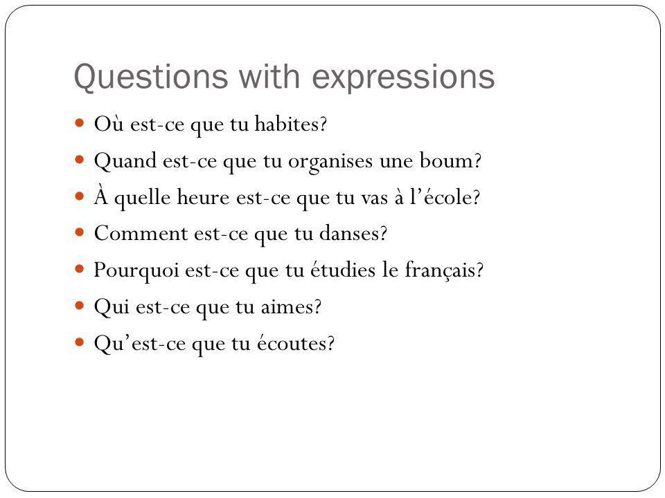 Questions with expressions