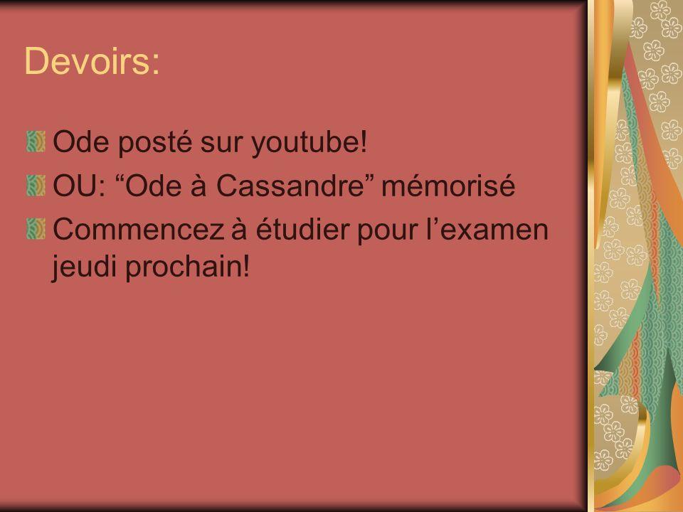 Devoirs: Ode posté sur youtube! OU: Ode à Cassandre mémorisé