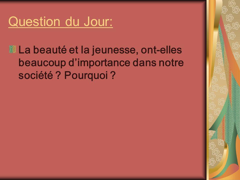 Question du Jour: La beauté et la jeunesse, ont-elles beaucoup d'importance dans notre société .