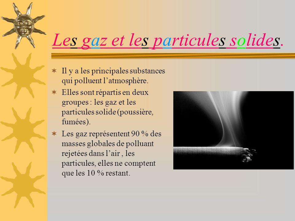 Les gaz et les particules solides.
