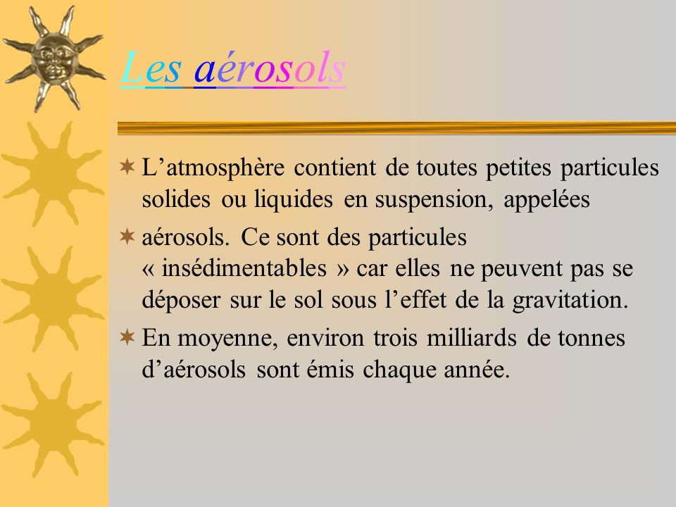 Les aérosols L'atmosphère contient de toutes petites particules solides ou liquides en suspension, appelées.