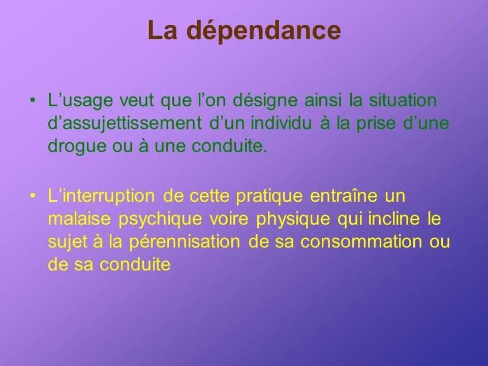 La dépendance L'usage veut que l'on désigne ainsi la situation d'assujettissement d'un individu à la prise d'une drogue ou à une conduite.