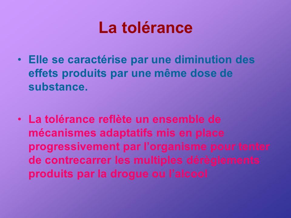 La tolérance Elle se caractérise par une diminution des effets produits par une même dose de substance.
