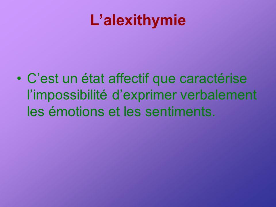 L'alexithymie C'est un état affectif que caractérise l'impossibilité d'exprimer verbalement les émotions et les sentiments.