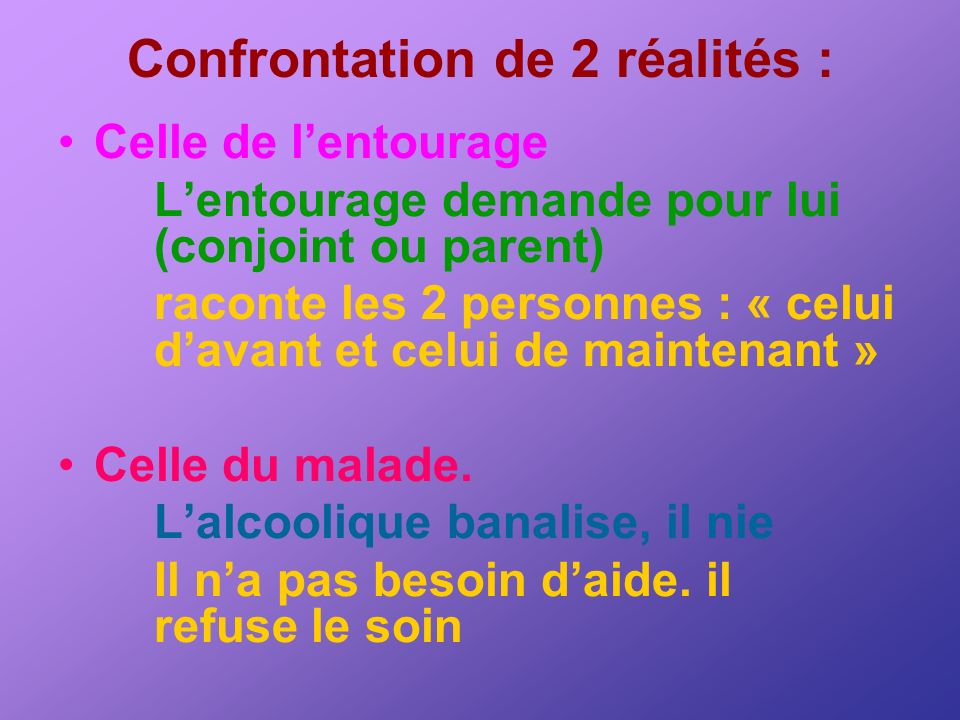 Confrontation de 2 réalités :