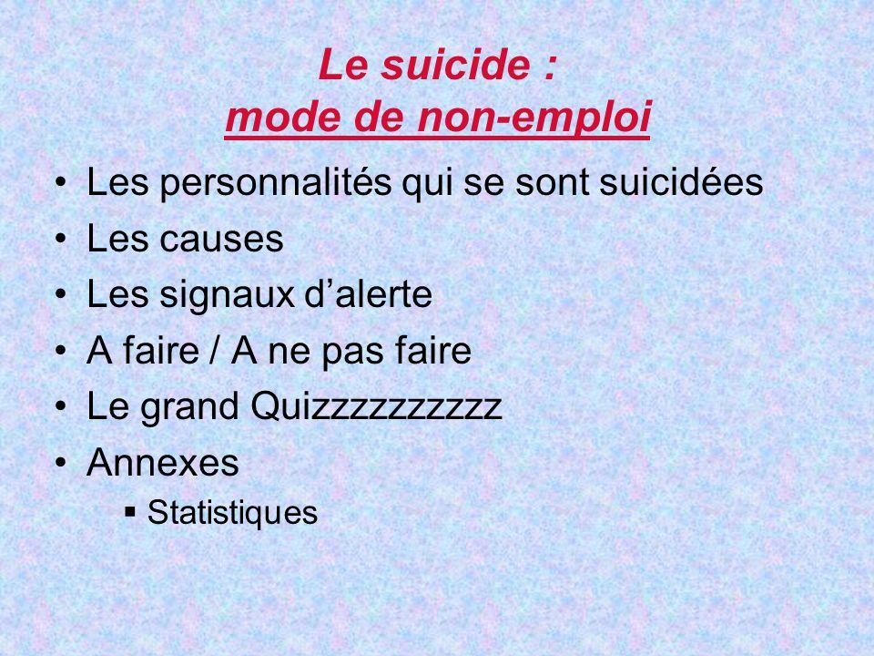 Le suicide : mode de non-emploi