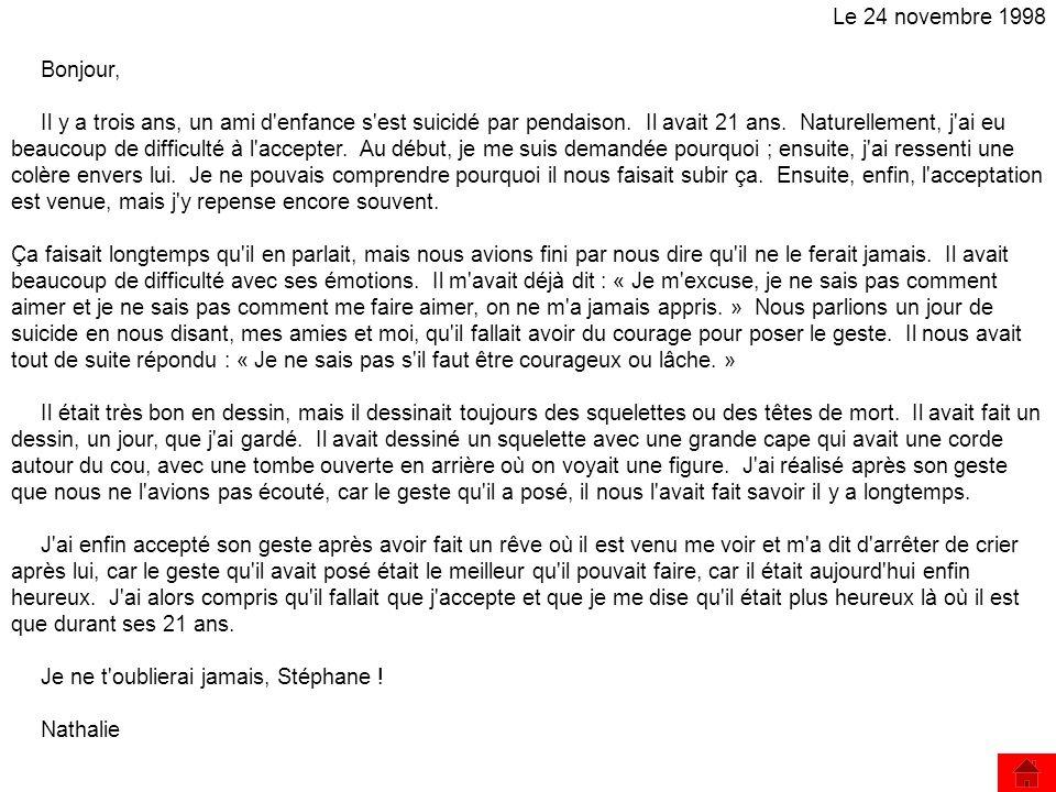 Le 24 novembre 1998 Bonjour,