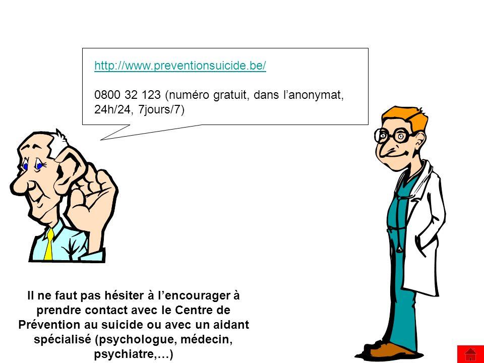 http://www.preventionsuicide.be/ 0800 32 123 (numéro gratuit, dans l'anonymat, 24h/24, 7jours/7)