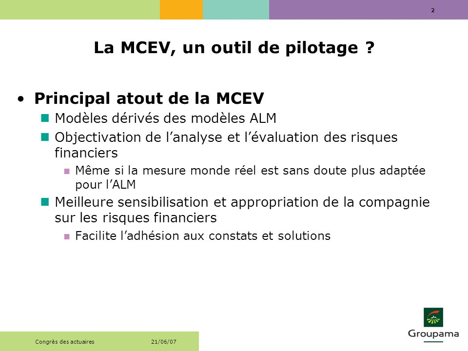 La MCEV, un outil de pilotage