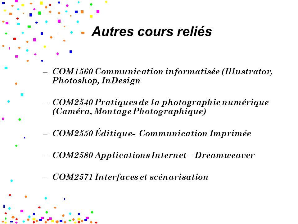 Autres cours reliés COM1560 Communication informatisée (Illustrator, Photoshop, InDesign.