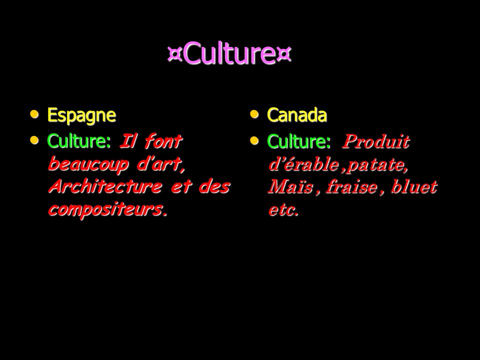 ¤Culture¤ Espagne. Culture: Il font beaucoup d'art, Architecture et des compositeurs. Canada.