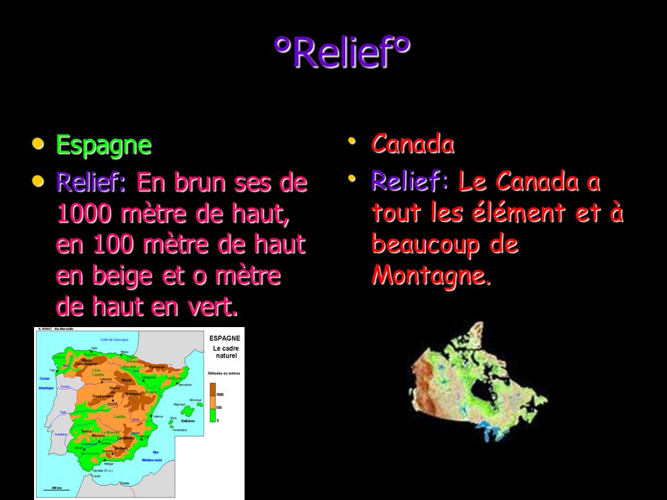 °Relief° Espagne. Relief: En brun ses de 1000 mètre de haut, en 100 mètre de haut en beige et o mètre de haut en vert.