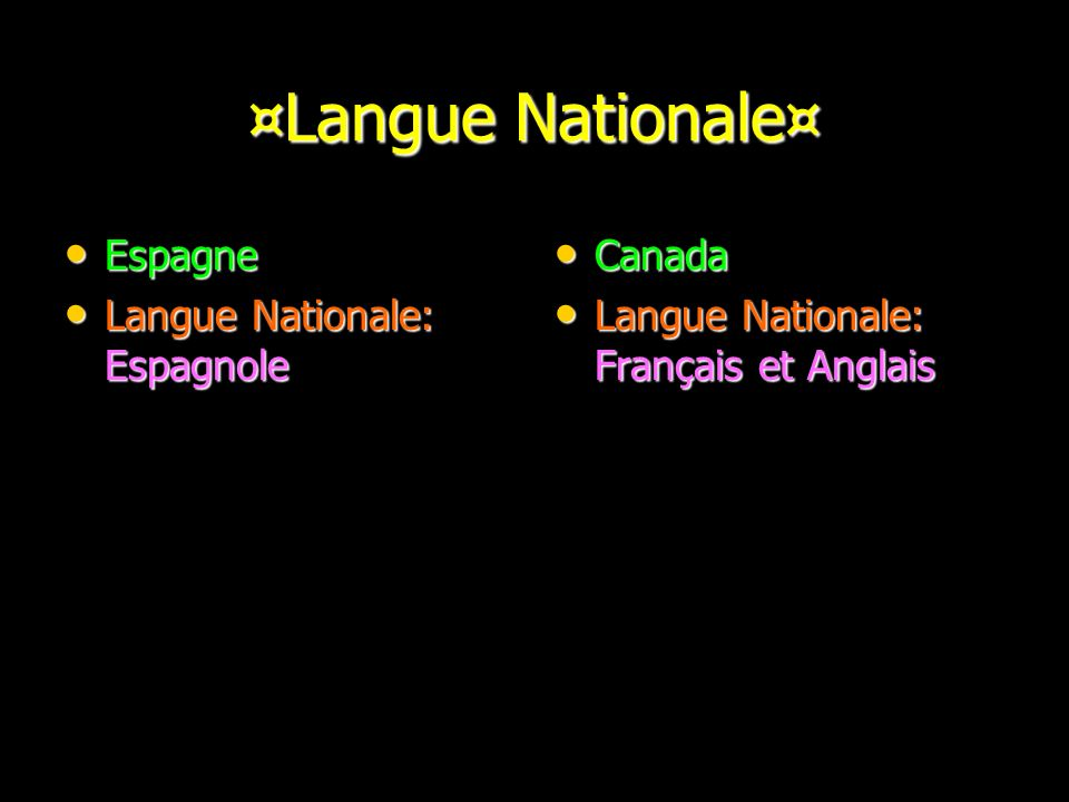 ¤Langue Nationale¤ Espagne Langue Nationale: Espagnole Canada