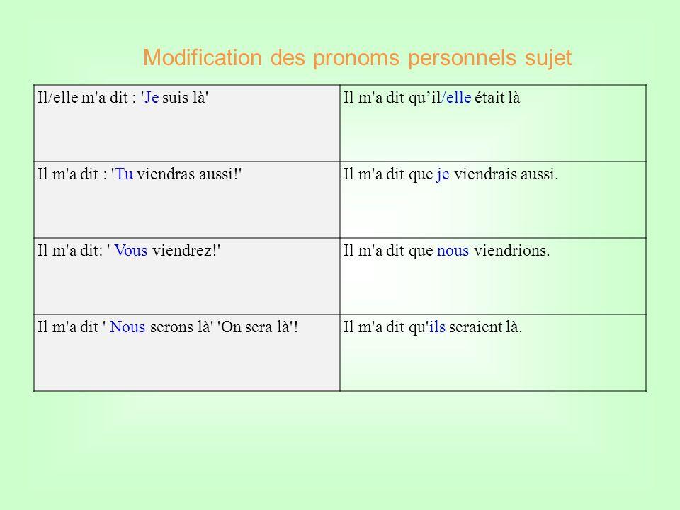 Modification des pronoms personnels sujet