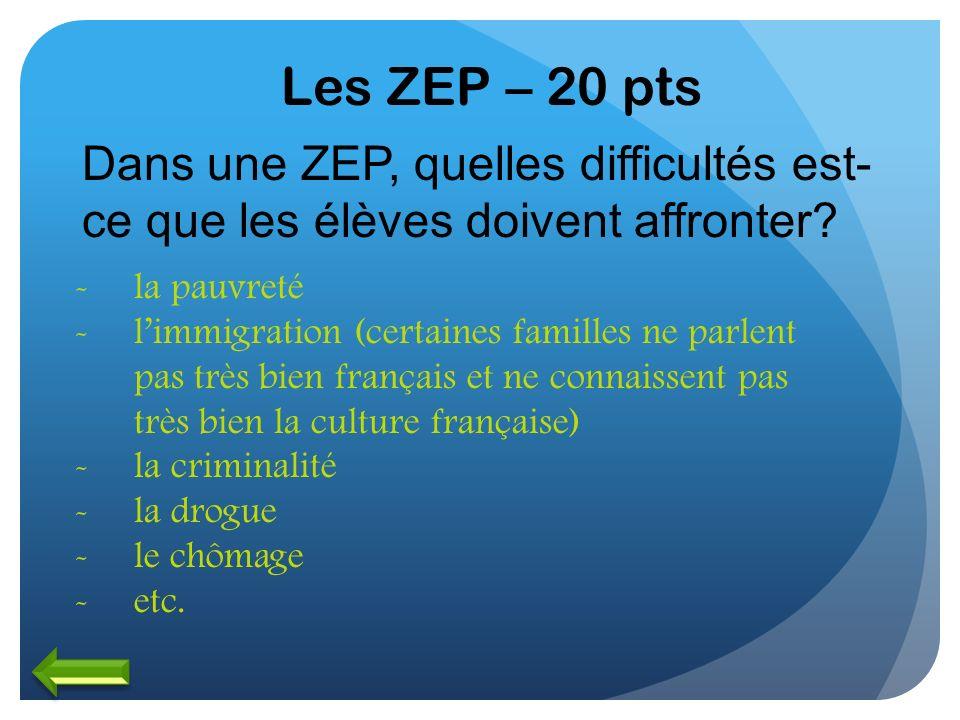 Les ZEP – 20 pts Dans une ZEP, quelles difficultés est-ce que les élèves doivent affronter la pauvreté.