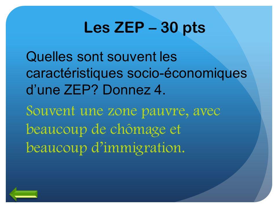 Les ZEP – 30 pts Quelles sont souvent les caractéristiques socio-économiques d'une ZEP Donnez 4.
