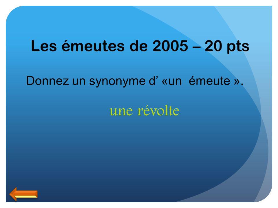 Les émeutes de 2005 – 20 pts une révolte