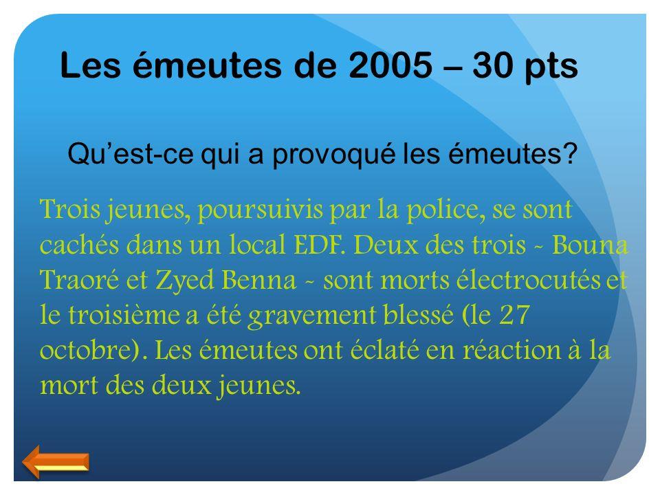Les émeutes de 2005 – 30 pts Qu'est-ce qui a provoqué les émeutes