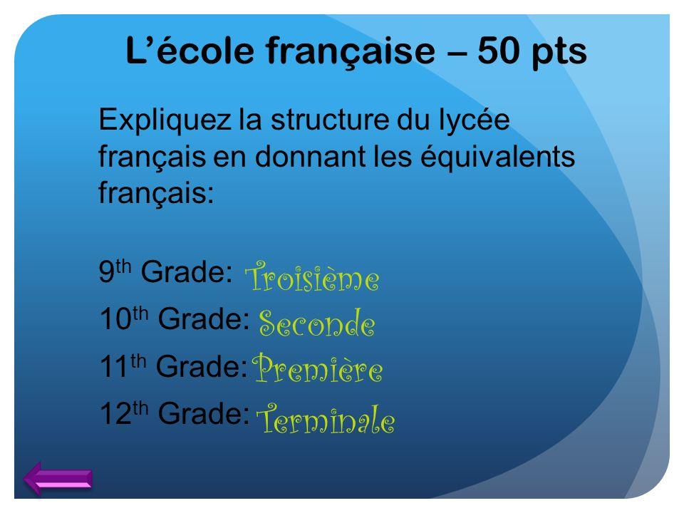 L'école française – 50 pts