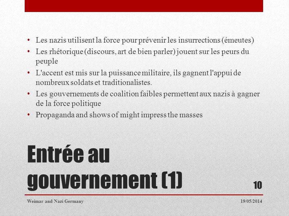 Entrée au gouvernement (1)