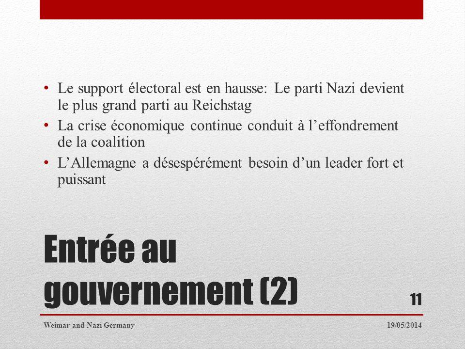 Entrée au gouvernement (2)