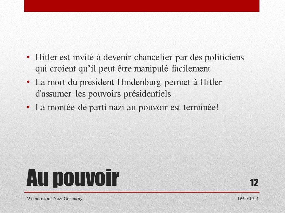 Hitler est invité à devenir chancelier par des politiciens qui croient qu'il peut être manipulé facilement