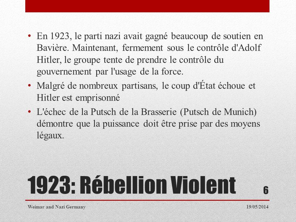 En 1923, le parti nazi avait gagné beaucoup de soutien en Bavière