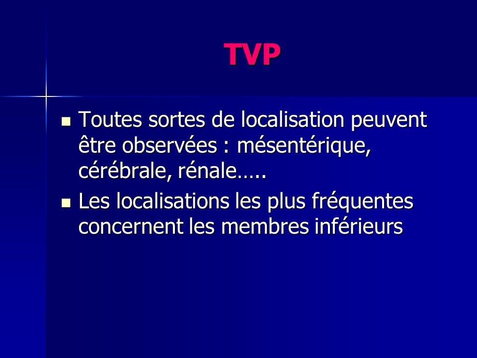 TVP Toutes sortes de localisation peuvent être observées : mésentérique, cérébrale, rénale…..