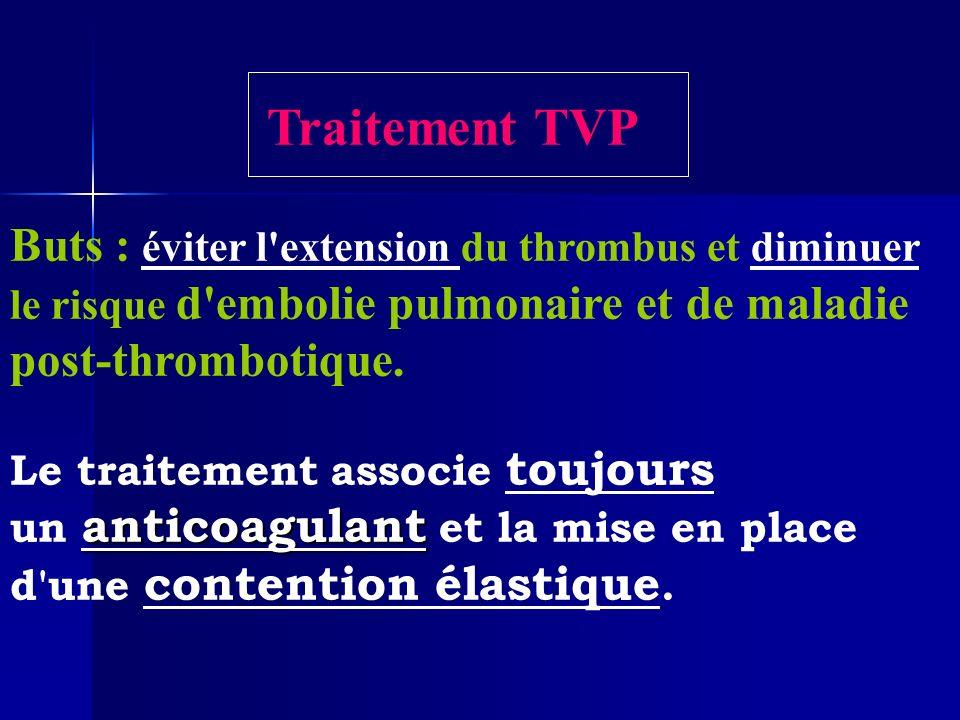 Traitement TVP Buts : éviter l extension du thrombus et diminuer le risque d embolie pulmonaire et de maladie.