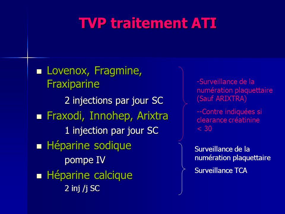 TVP traitement ATI Lovenox, Fragmine, Fraxiparine