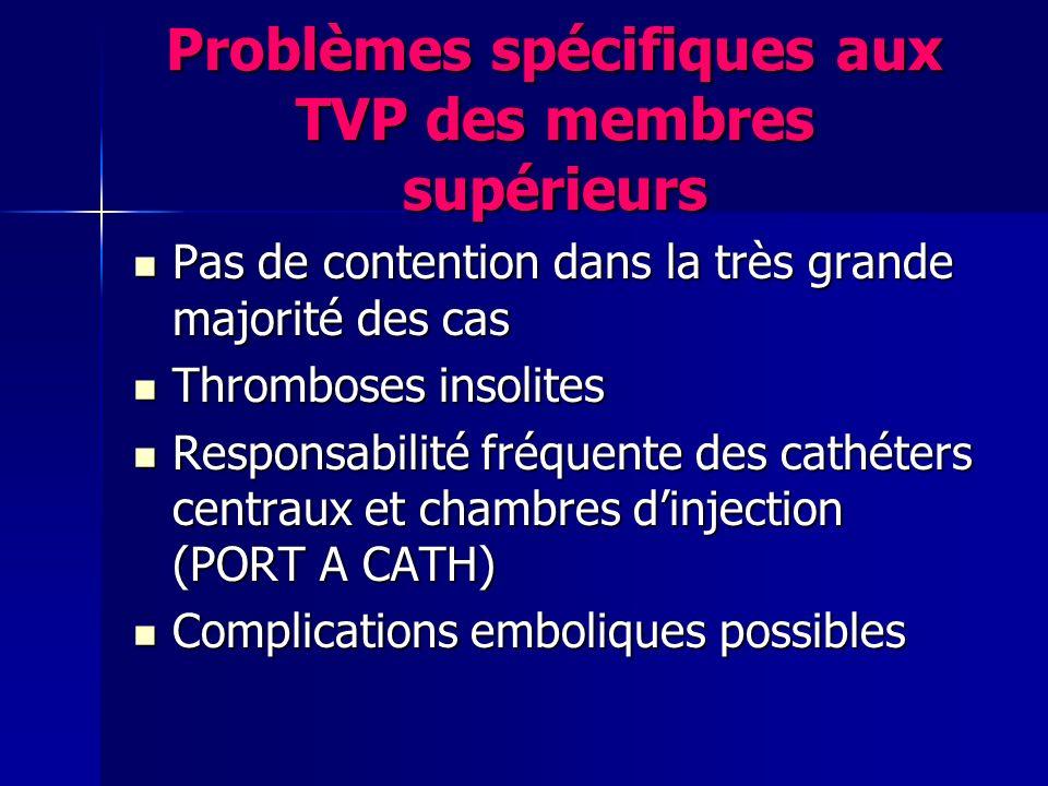 Problèmes spécifiques aux TVP des membres supérieurs