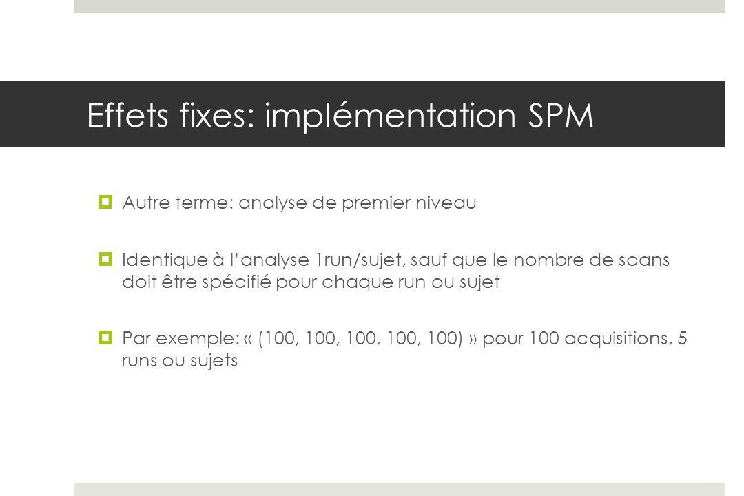 Effets fixes: implémentation SPM