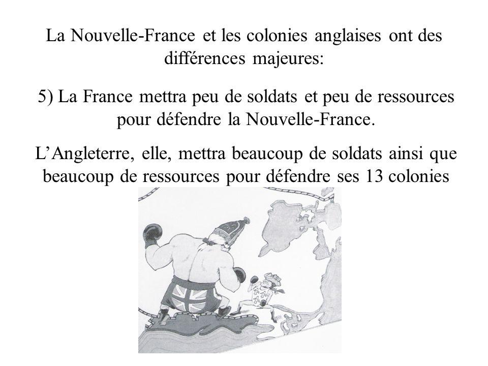 La Nouvelle-France et les colonies anglaises ont des différences majeures: