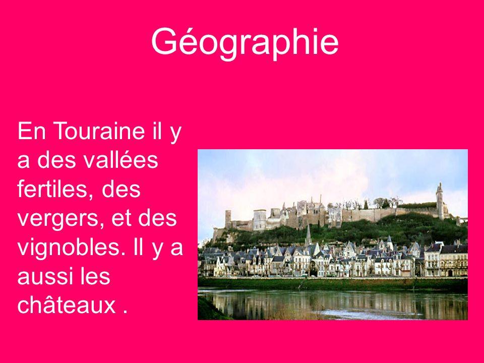 Géographie En Touraine il y a des vallées fertiles, des vergers, et des vignobles.