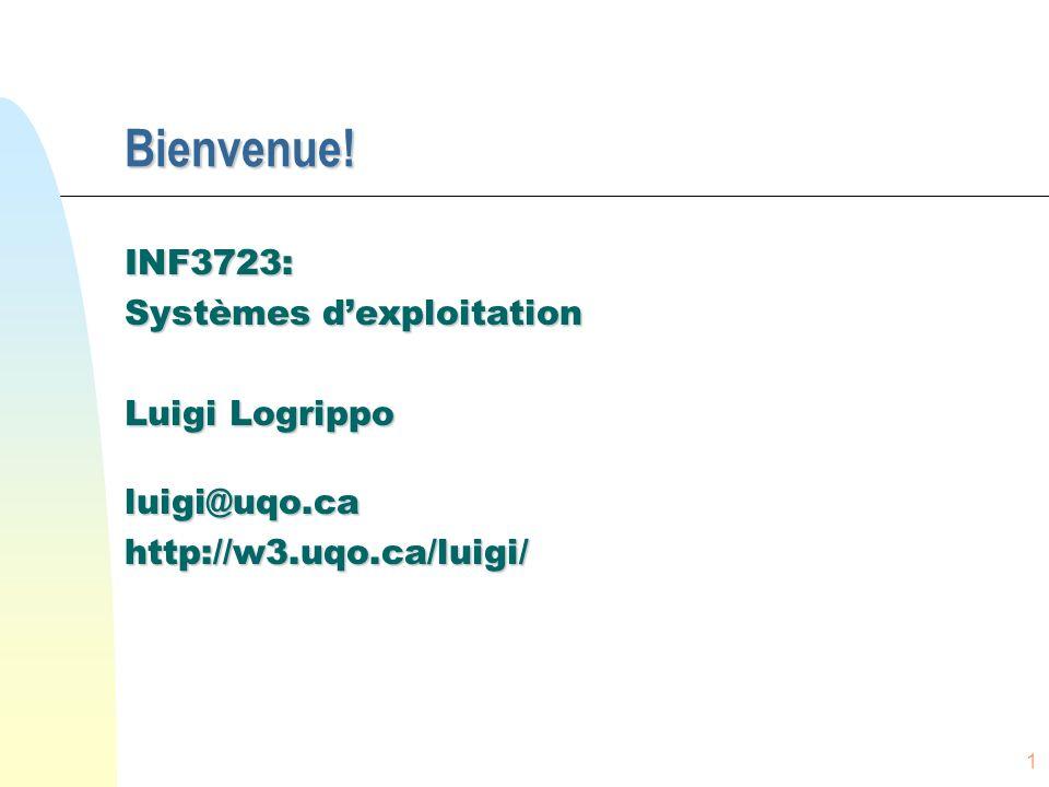 Bienvenue! INF3723: Systèmes d'exploitation Luigi Logrippo